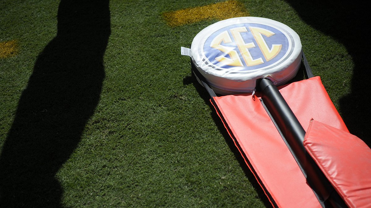 An SEC yardage marker lays on the sideline during a game between Tennessee and Missouri at...