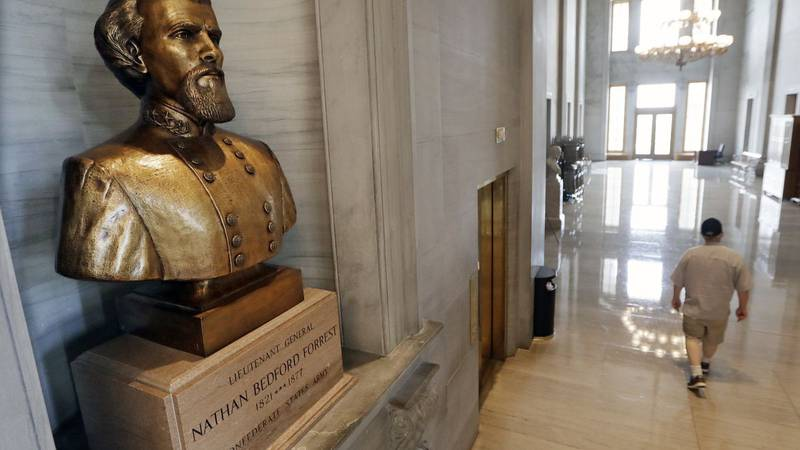 FILE - In this Aug. 17, 2017 file photo, a bust of Nathan Bedford Forrest is displayed in the...