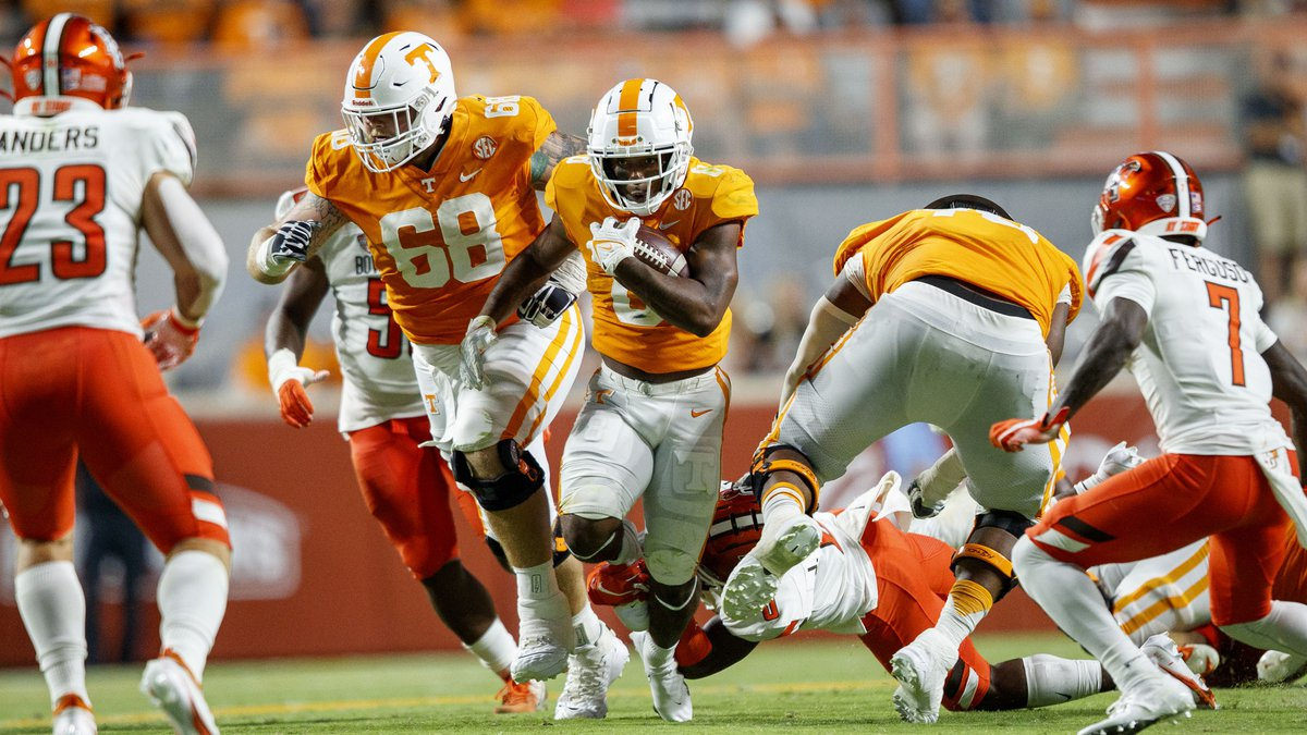 KNOXVILLE, TN - September 02, 2021 - Wide receiver Jimmy Holiday #6 of the Tennessee Volunteers...