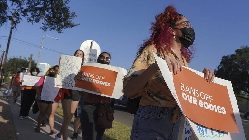 Abortion rights supporters gather to protest Texas SB 8 in front of Edinburg City Hall on...