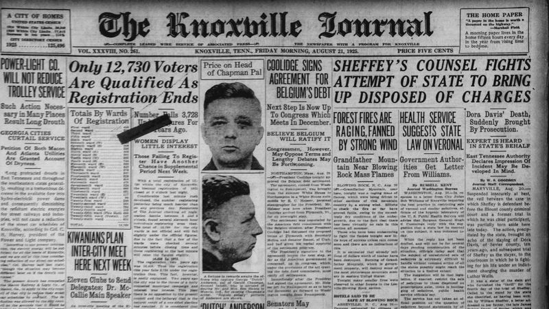 William Sheffey headline in The Knoxville Journal in 1925
