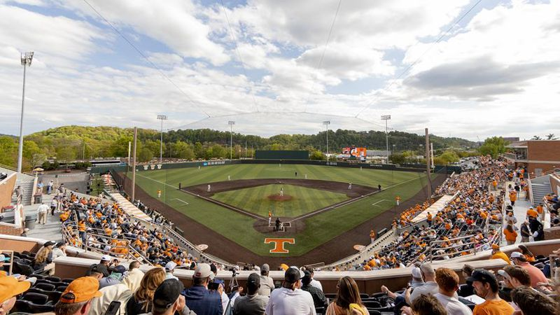KNOXVILLE, TN - April 17, 2021 - Wide angle of Lindsey Nelson Stadium during the game between...