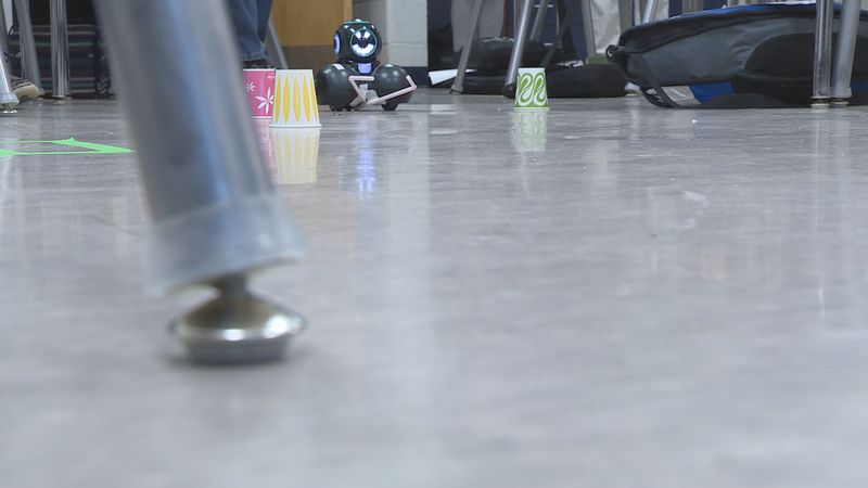 Robot programmed to move paper cups