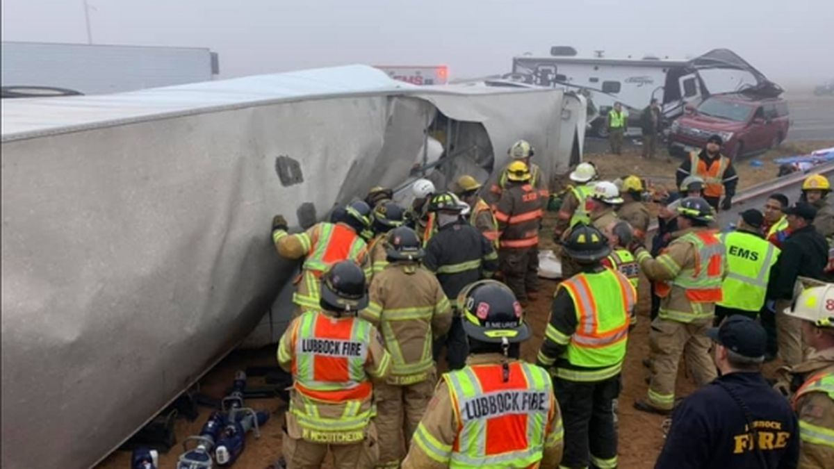 Members with the Lubbock Fire Department help out with a series of crashes on Highway 84 in Lubbock, Texas on Dec. 27 / Source: (Lubbock Fire Department)