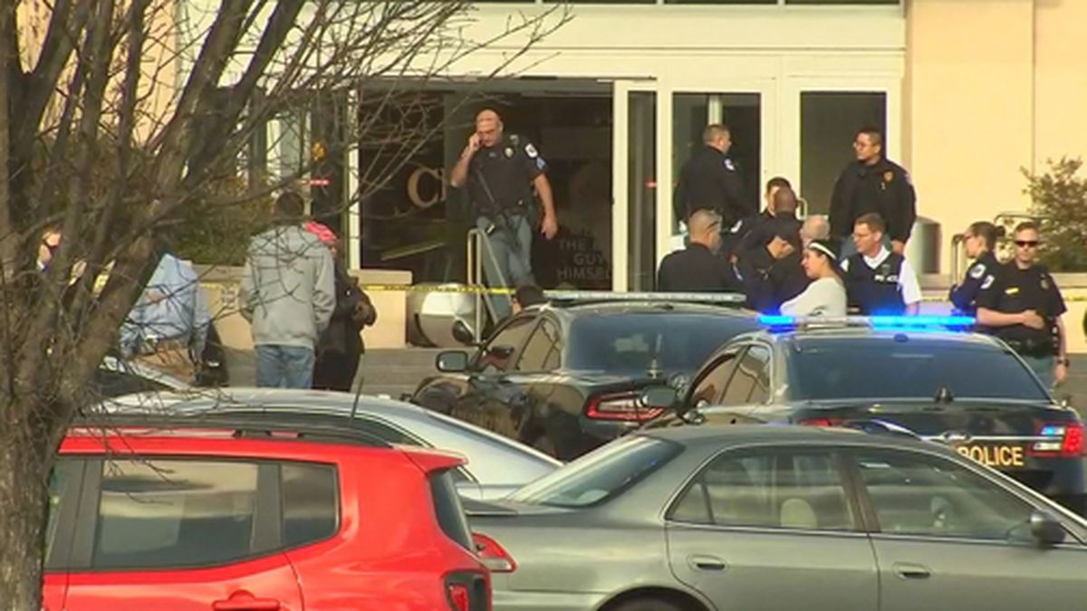 Police are investigating a shooting at Cumberland Mall in Cobb County, Georgia, on Saturday. (Source: WSB/Cox/CNN)