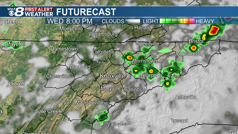 Spotty downpours and storms Tuesday evening