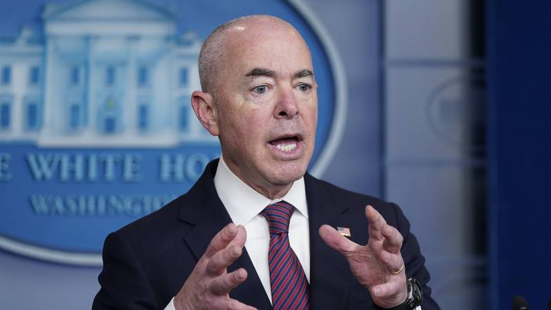 Secretary of Homeland Security Alejandro Mayorkas speaks during a press briefing at the White...