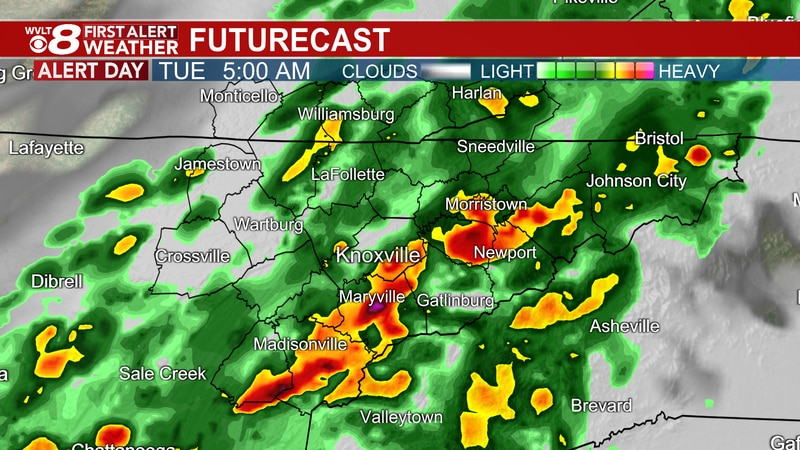 Downpours this morning continue the First Alert.