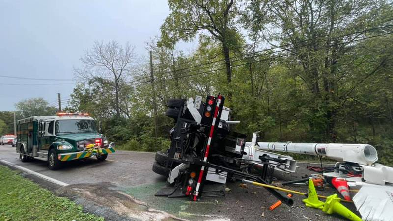 One person taken to hospital following crash with a large utility truck