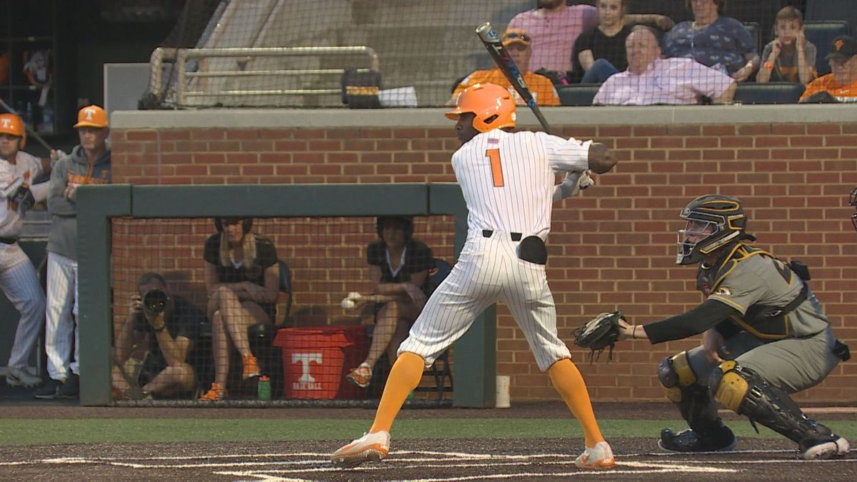 Al Soularie bats for Tennessee against Missouri
