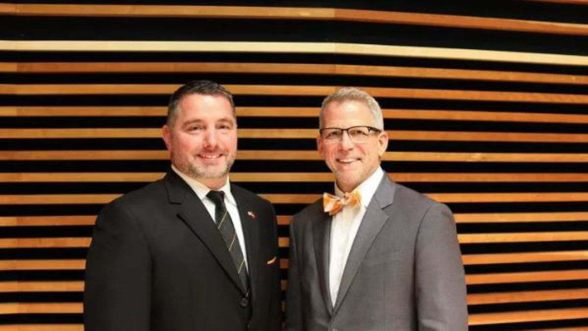 Eric W. Barton, left, with Jeffrey L. Pappas, director of the School of Music.