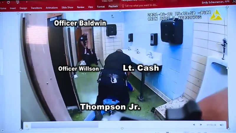 Officer Clabough's body cam footage of the Austin-East bathroom struggle
