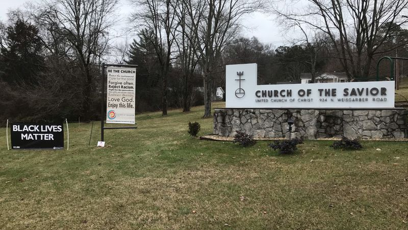 A 'Black Lives Matter' Banner outside of Church of the Savior in Knoxville.