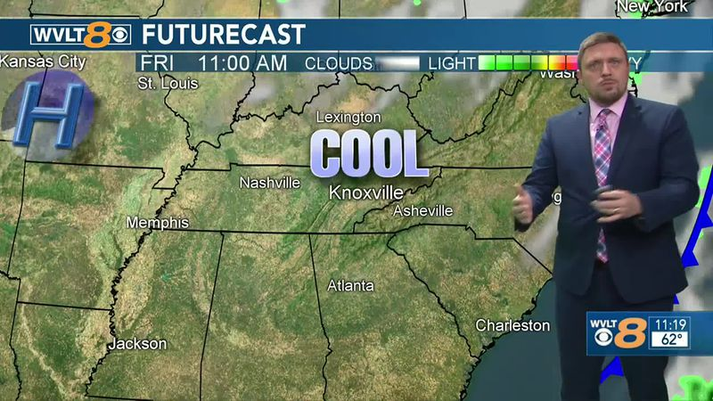 Cooler air from Thursday's front doesn't move in until Friday.