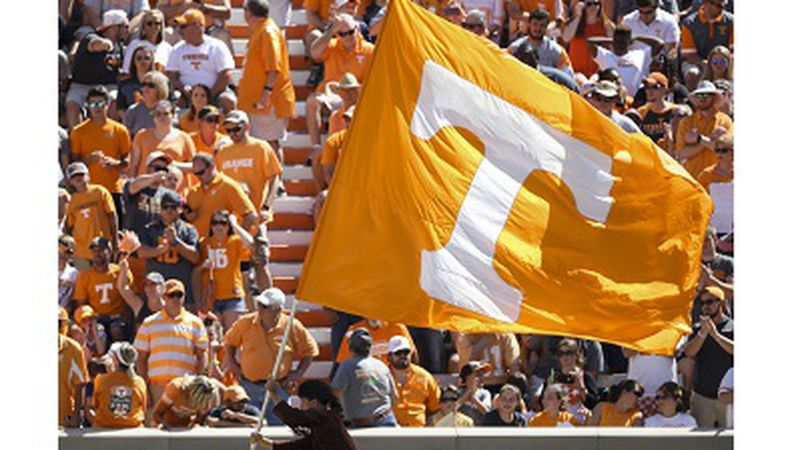 KNOXVILLE, TN - SEPTEMBER 17, 2016 - Tennessee Volunteers Power T Flag during the game between...