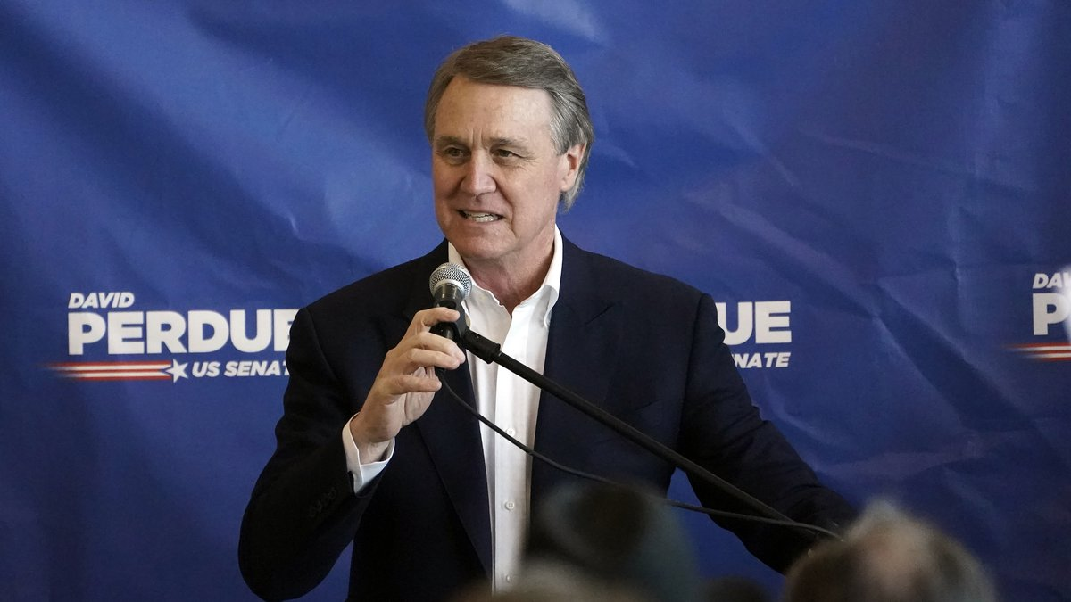 Sen. David Perdue speaks during a campaign stop at Peachtree Dekalb Airport on Monday, Nov. 2,...