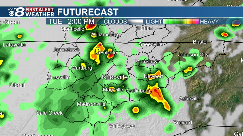 Heavy downpours at times Tuesday
