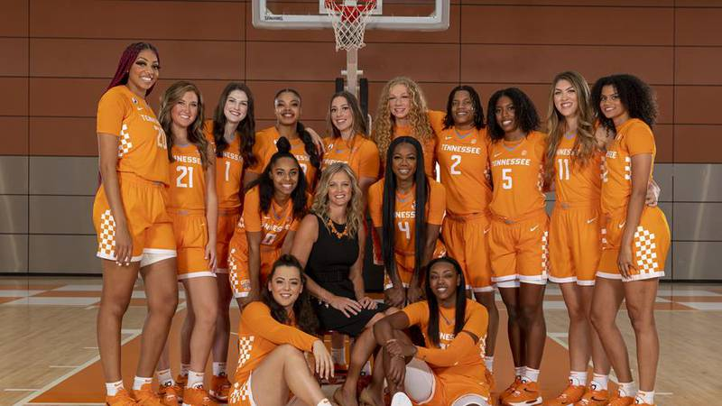 KNOXVILLE, TN - September 08, 2021 - The Tennessee Lady Volunteers and Head Coach Kellie Harper...