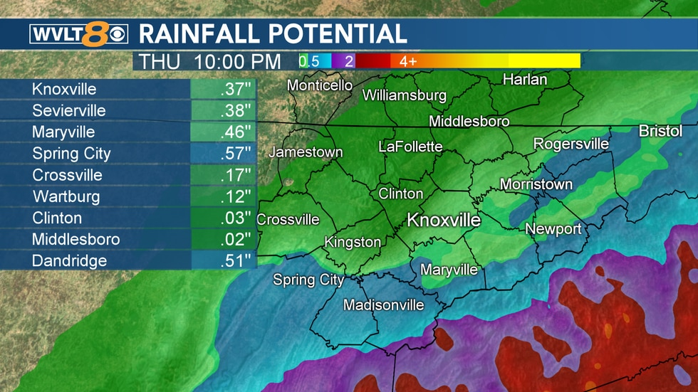 Excessive rain is outside of our area, but some heavy rain clips the Smokies especially.