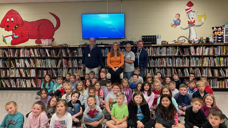 All the 2nd grade students, with teachers and Heather Haley.