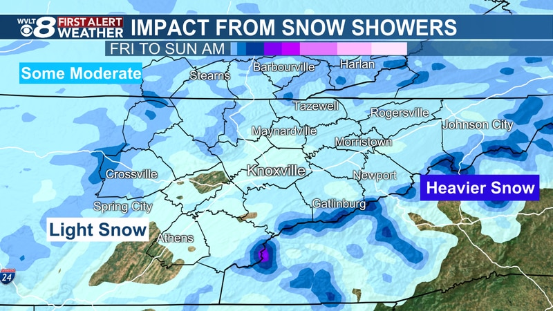 Impact potential from snow showers through the weekend.