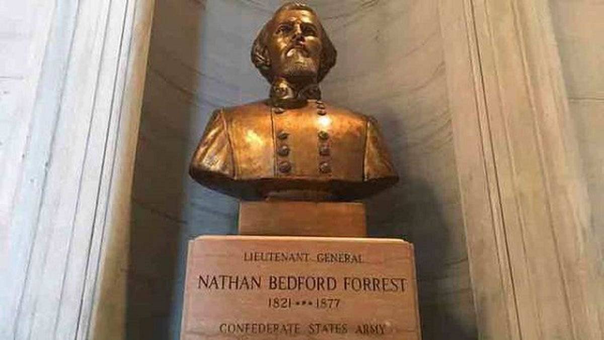 The bust of KKK leader and Confederate army general Nathan Bedford Forrest in the Tennessee...