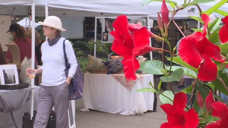 People explore the farmers' market