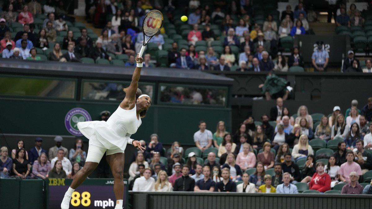 Serena Williams of the US serves to Aliaksandra Sasnovich of Belarus for the women's singles...