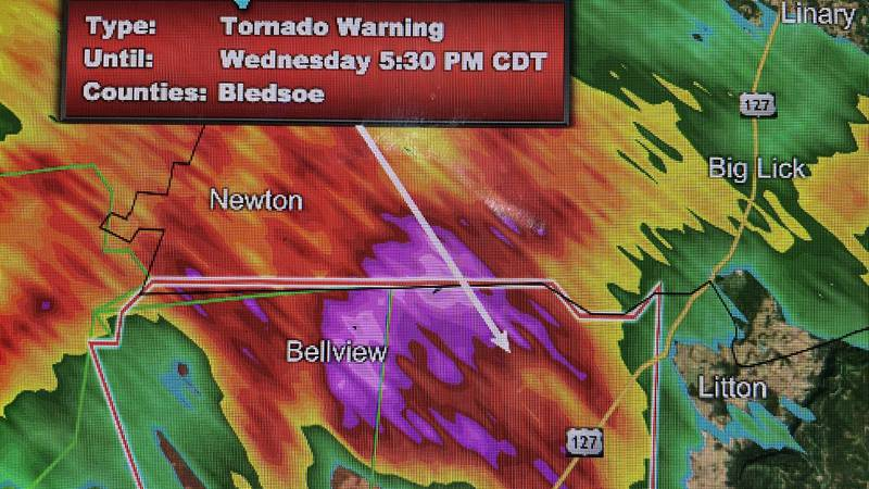 A Tornado Warning has been issued for both Bledsoe County and Cumberland County.