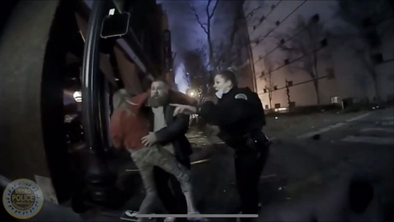 A Nashville police officer's body camera footage shows chaos after a bomb exploded in downtown...