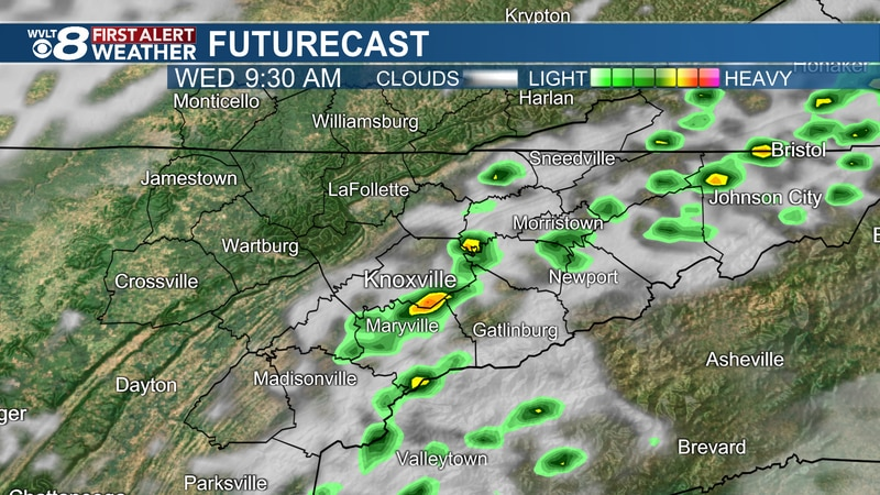 Spotty AM to scattered PM Wednesday