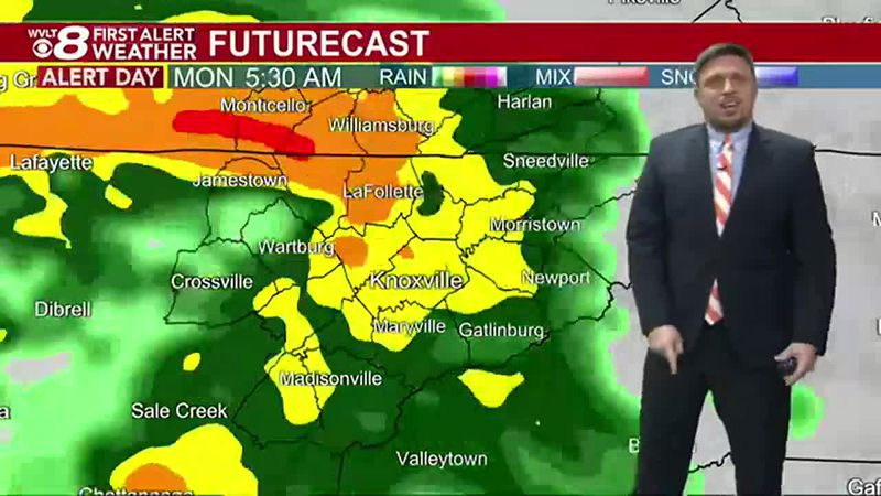 Heavy rain will cause trouble heading to work Monday morning.