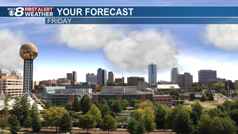 Sunny and hot Friday with stray storms