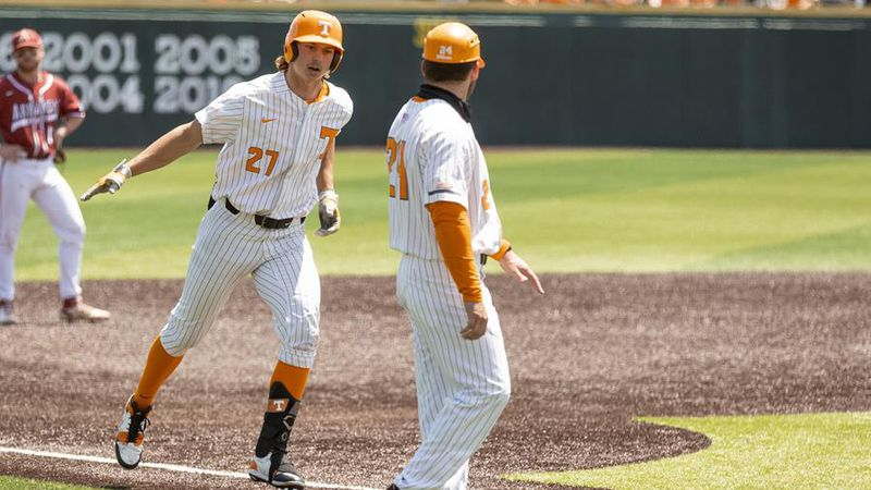 KNOXVILLE, TN - May 15, 2021 - Outfielder Jordan Beck #27 of the Tennessee Volunteers during...