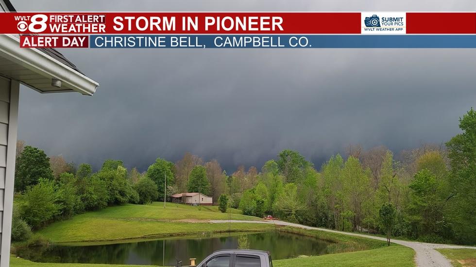 Dark clouds race across the Campbell County skyline Tuesday