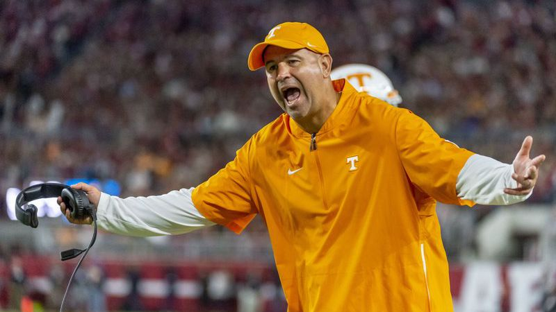 Tennessee head coach Jeremy Pruitt yells at the officials during the first half of an NCAA...