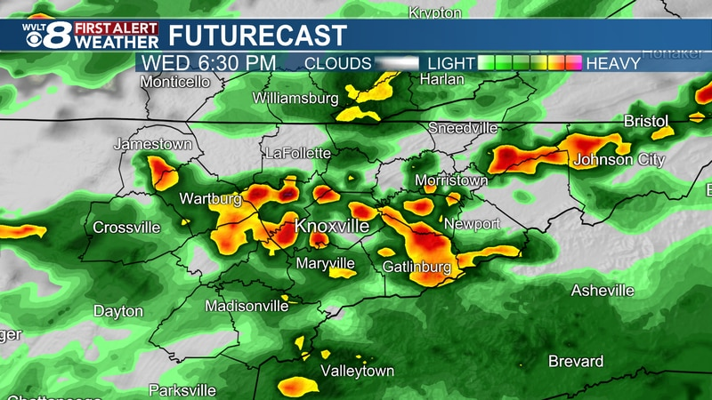 Scattered storms at times today