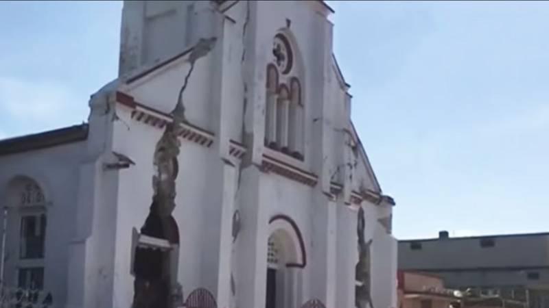 A damaged building in Haiti.