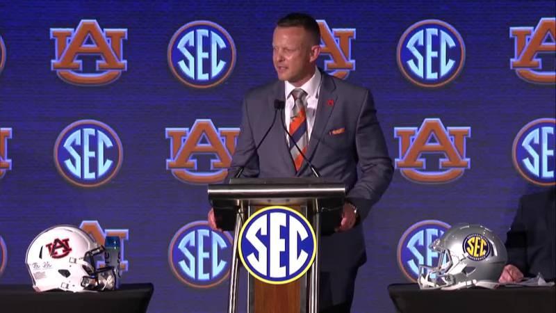 Auburn Coach Bryan Harsin at SEC Media Days in Hoover