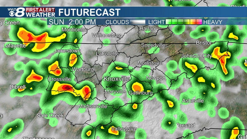 Spotty Downpours likely Sunday afternoon