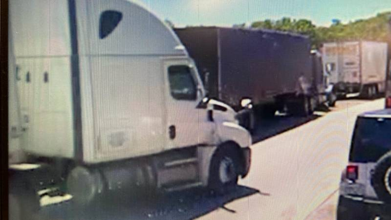 The truck believed to be involved in hit and run