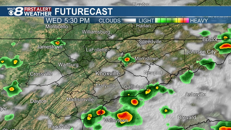 Isolated storms developing today.