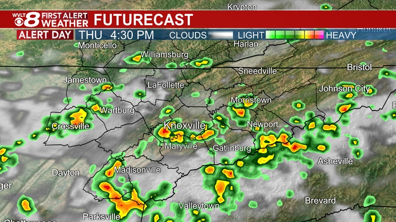 Scattered downpours and storms during commute.