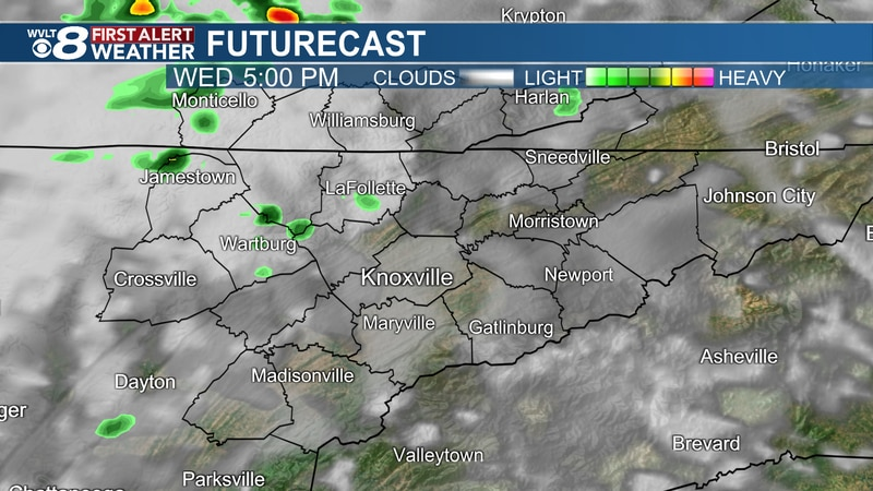 More clouds and sprinkles Wednesday