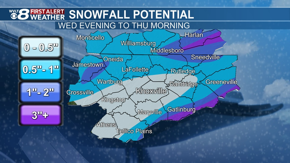 Snowfall map from the WVLT Weather team