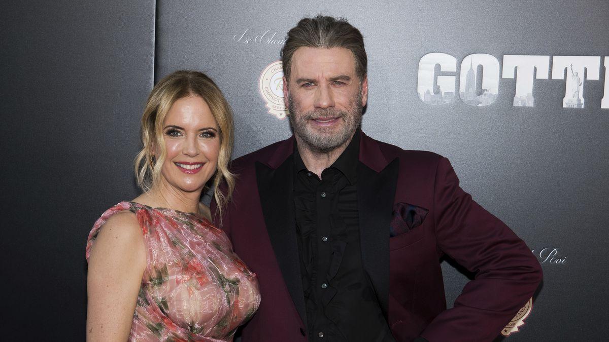 "Kelly Preston and John Travolta attend the premiere of ""Gotti"" at the SVA Theatre on Thursday,..."