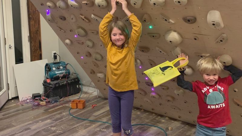 Lewis family built an indoor rock wall in their home