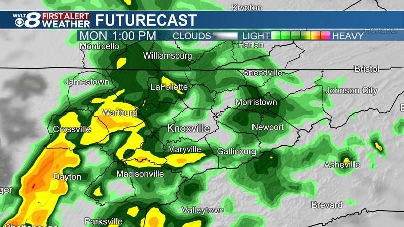 Downpours and storms continue Monday