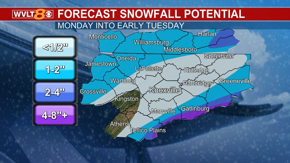 Snow will be most widespread in the Smoky Mountains.