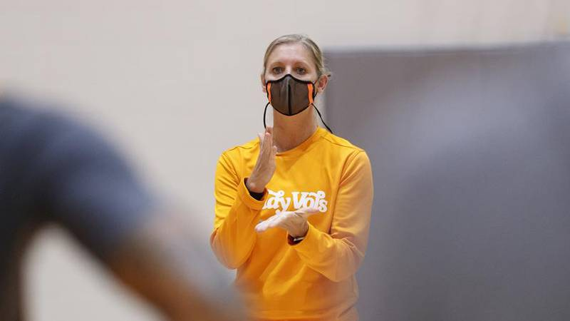 KNOXVILLE, TN - October 03, 2021 - Head Coach Kellie Harper of the Tennessee Lady Volunteers...